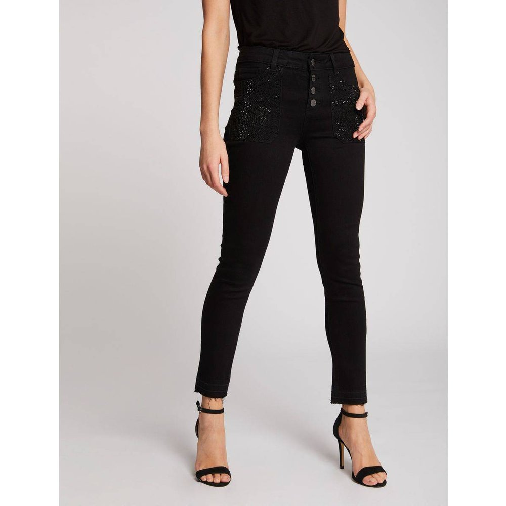 Jeans skinny taille standard à strass - Morgan - Modalova