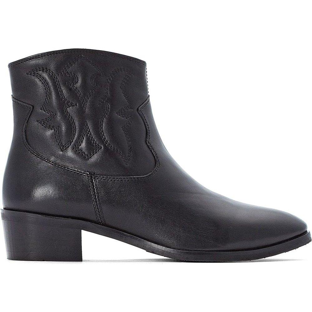Boots en cuir western brodé - LA REDOUTE COLLECTIONS - Modalova