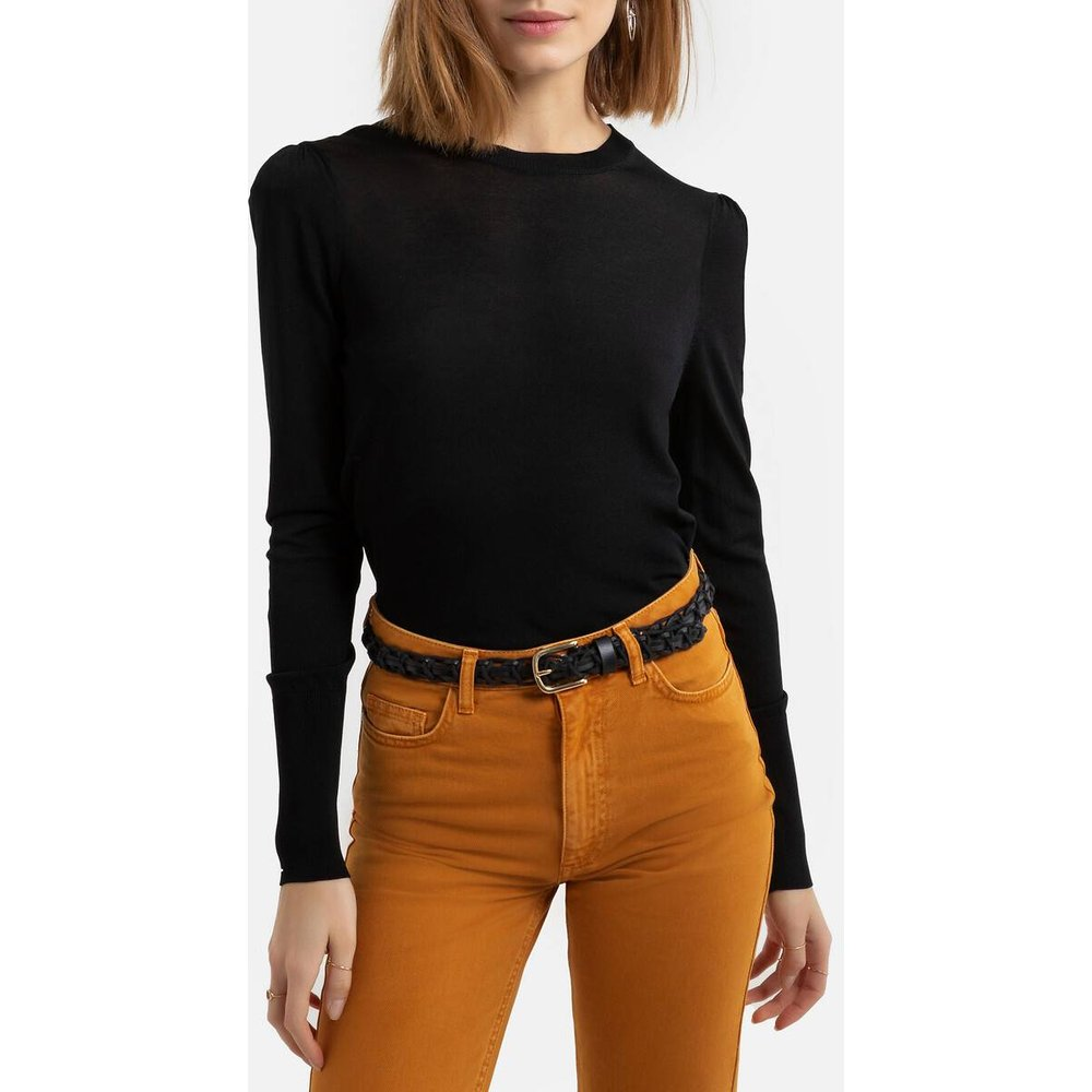 Pull col rond en fine maille, manches ballons - LA REDOUTE COLLECTIONS - Modalova