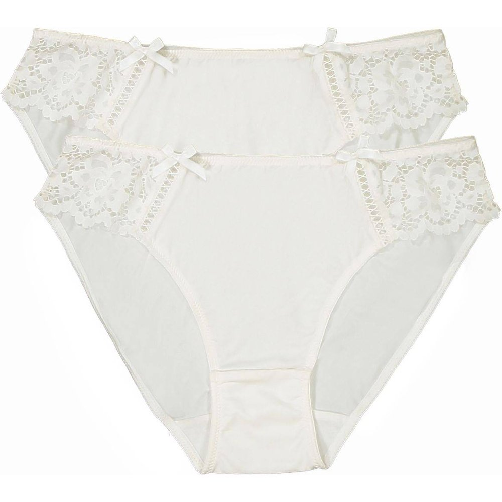 Lot de 2 slips en dentelle et microfibre - LA REDOUTE COLLECTIONS - Modalova