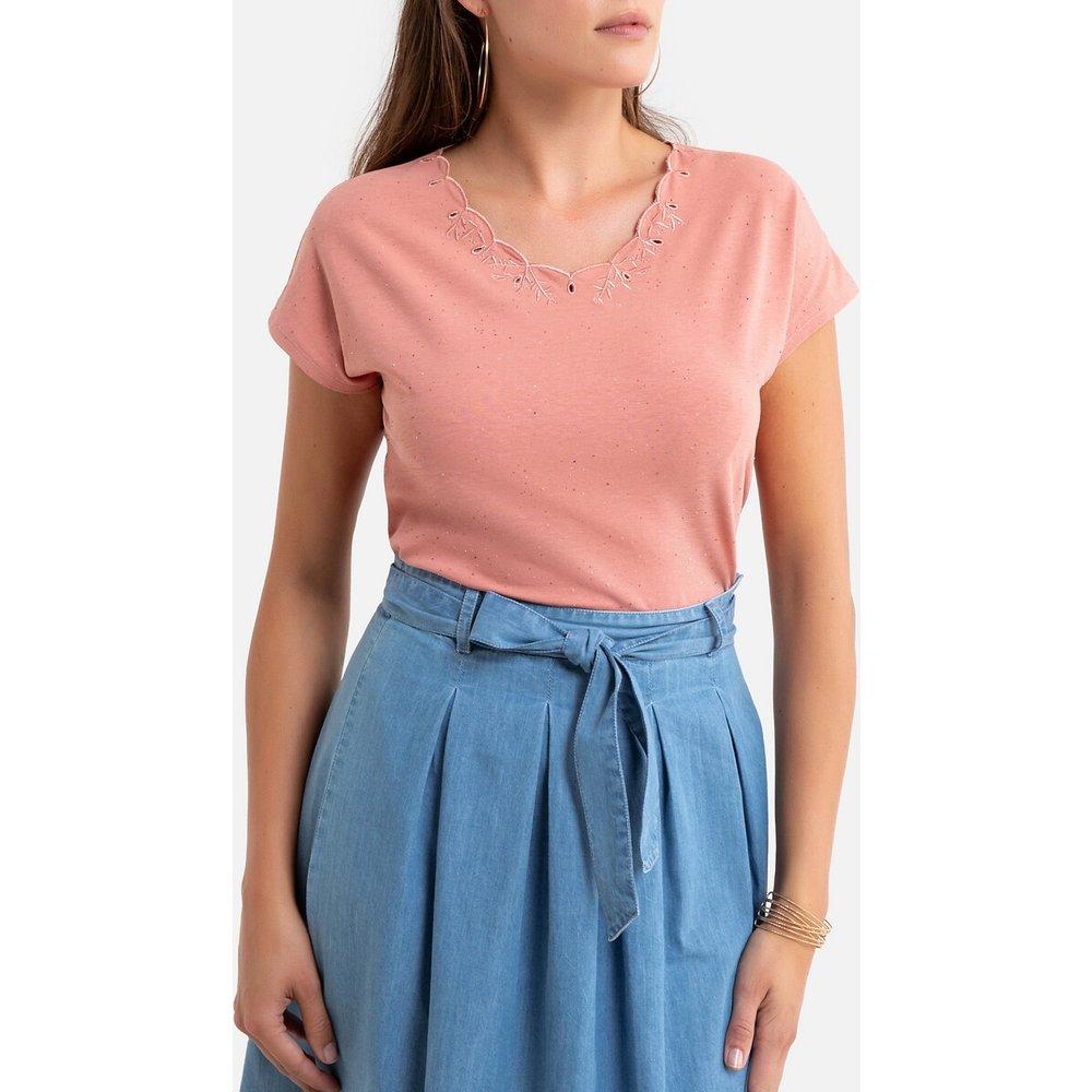 T-shirt brodé, col rond, manches courtes - Anne weyburn - Modalova