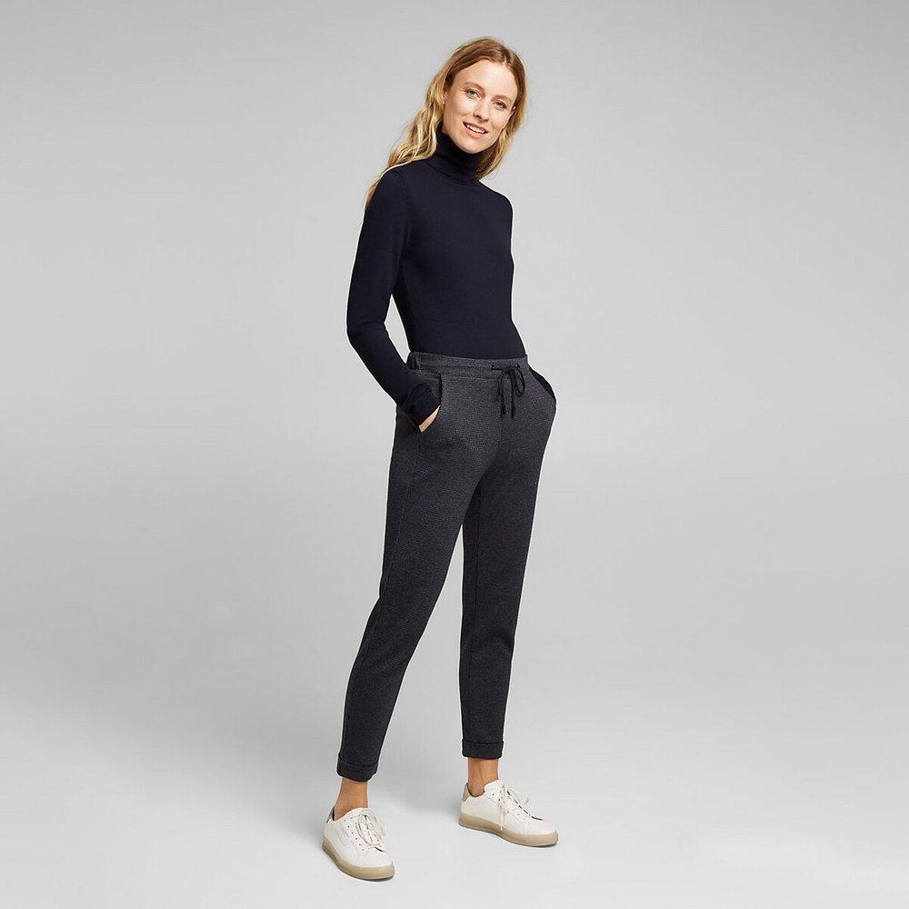 Pantalon taille élastiquée, pied de poule - Esprit - Modalova