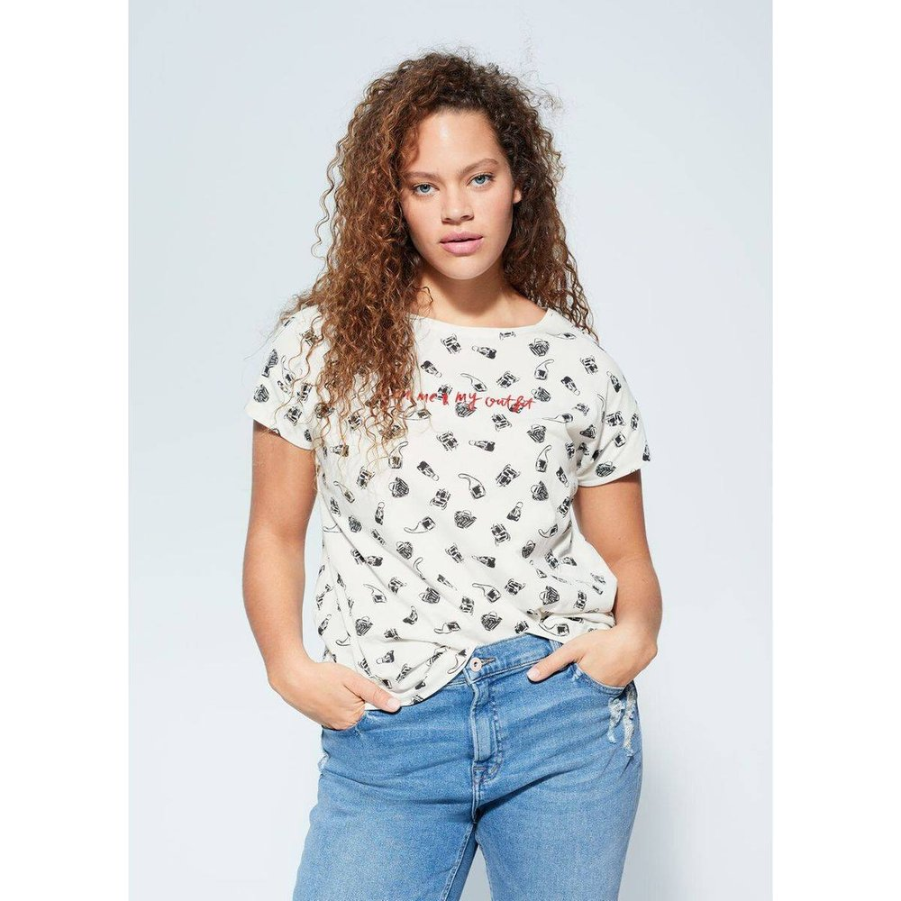 T-shirt imprimé détail brodé - Violeta by Mango - Modalova