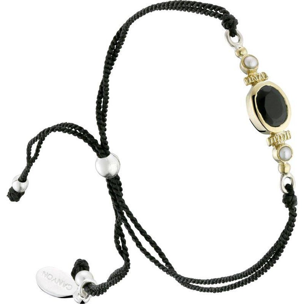 Bracelet cordon en argent 925, dorure or, Onyx, Perle fine, 1.70g - Canyon - Modalova