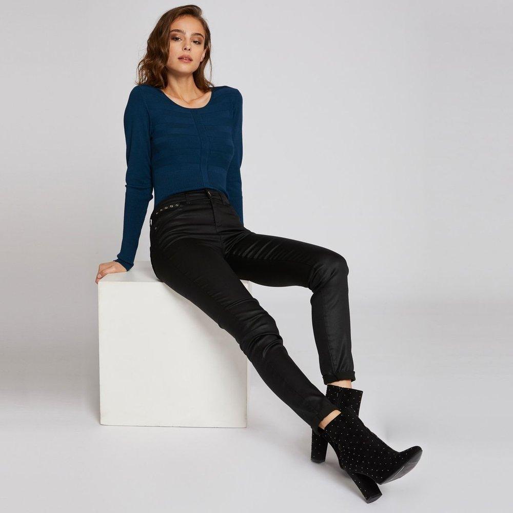 Pantalon slim en simili avec détails cloutés - Morgan - Modalova