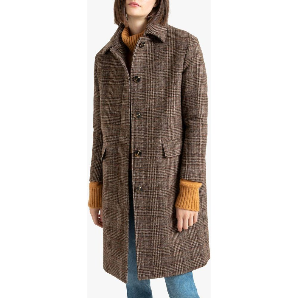 Manteau long à carreaux en drap de laine - LA REDOUTE COLLECTIONS - Modalova