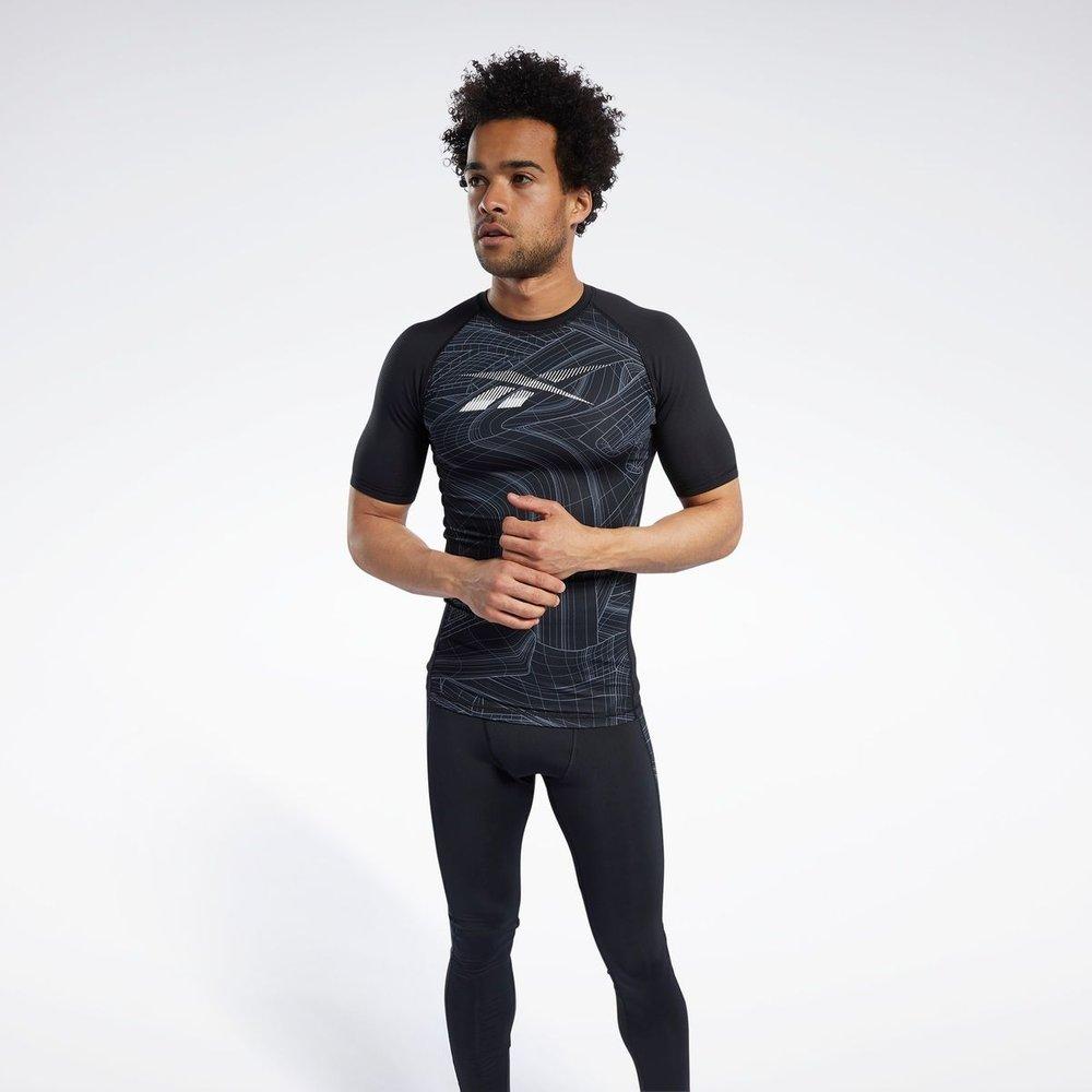 T-shirt de compression imprimé à manches courtes - REEBOK SPORT - Modalova