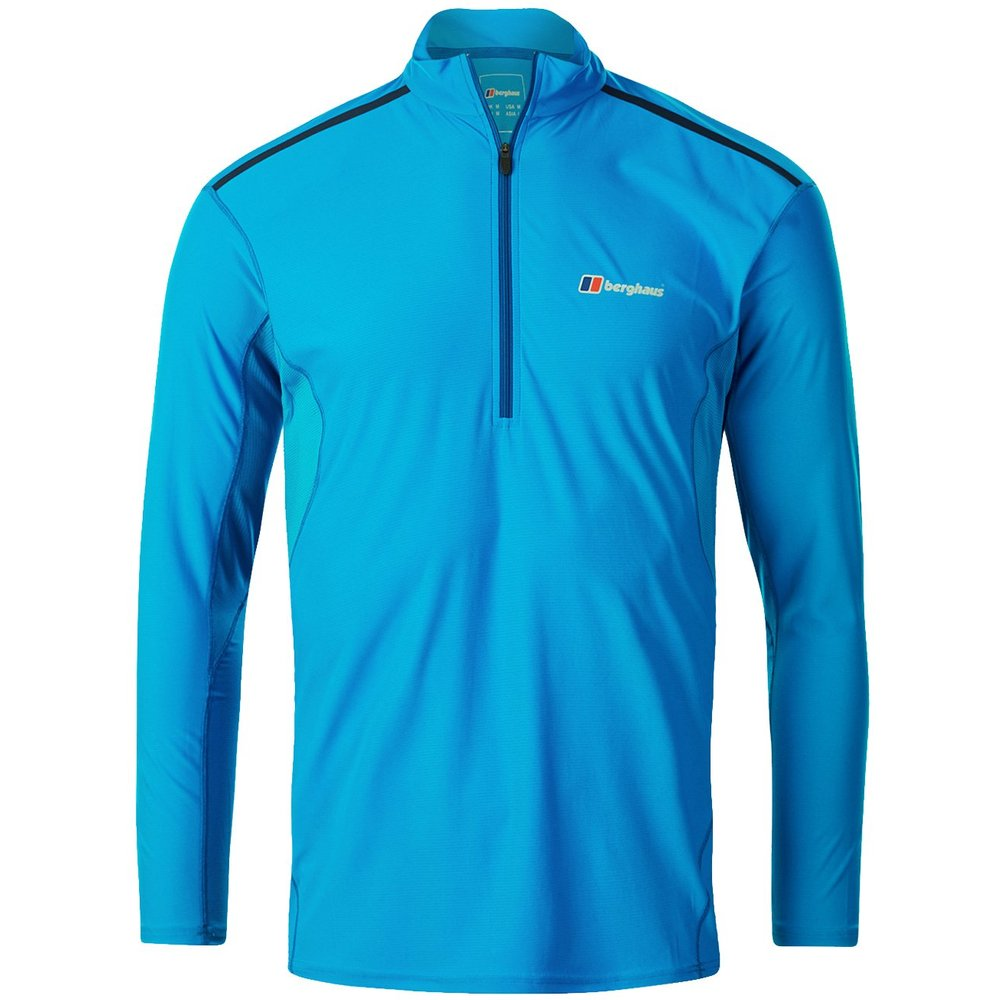 Berghaus Mens Super Tech Tee LS Zip T Shirt - Adriatic Blue