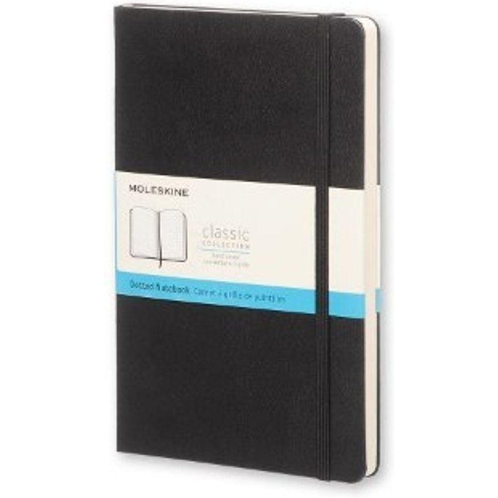Moleskine Classic Dotted Paper Notebook - Hard Cover and Elastic ClosureJournal, Black, Pocket 9 x 14 A6, 192 Pages