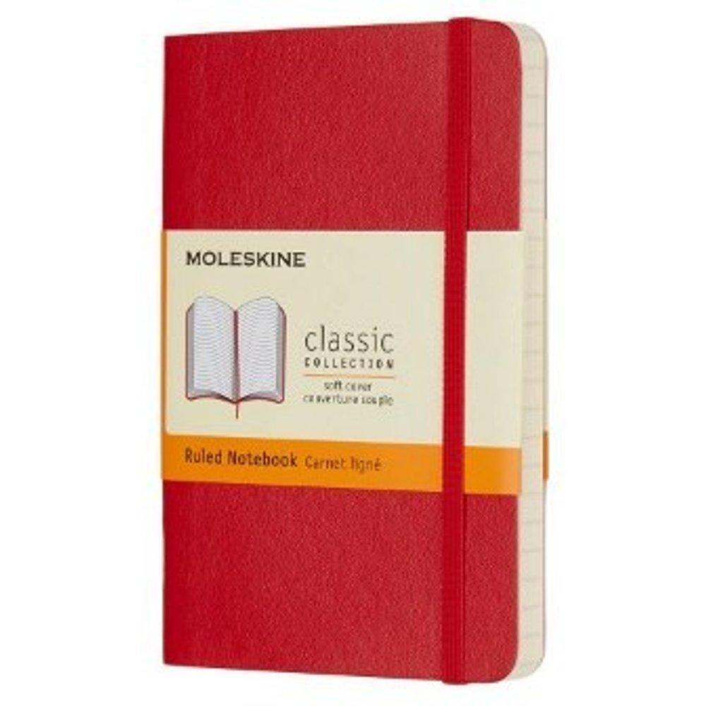 Scarlet Red Ruled Soft Notebook Pocket