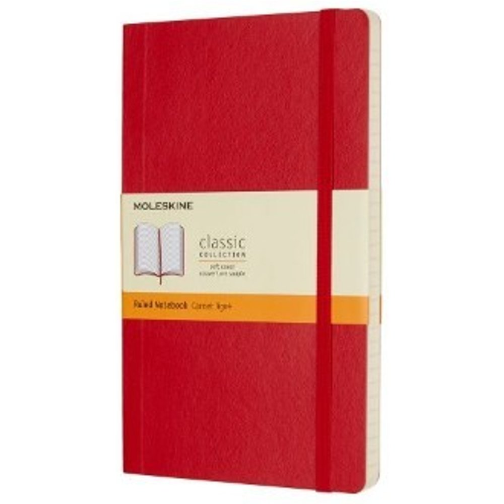 Scarlet Red Ruled Soft Notebook L