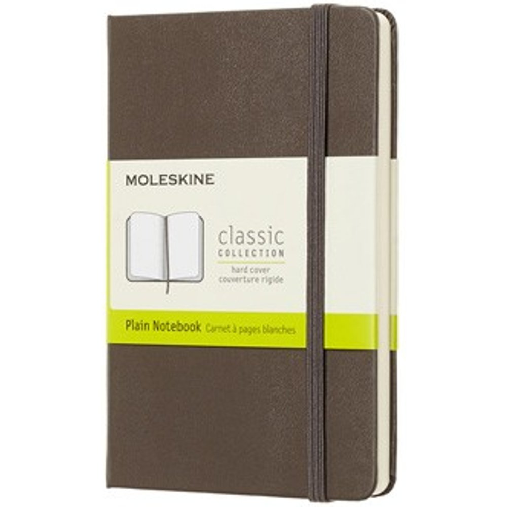 Moleskine - Classic Plain Paper Notebook - Hard Cover and Elastic Closure Journal - Color Earth Brown - Size Pocket 9 x 14 A6 - 192 Pages