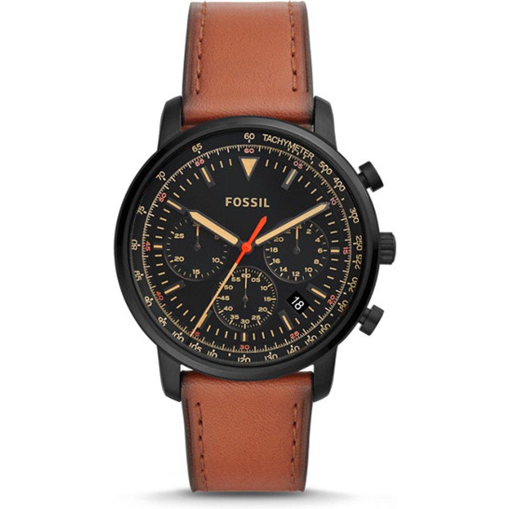 Unisex Montre Goodwin Chronographe En Cuir Marron - One size - Fossil - Modalova