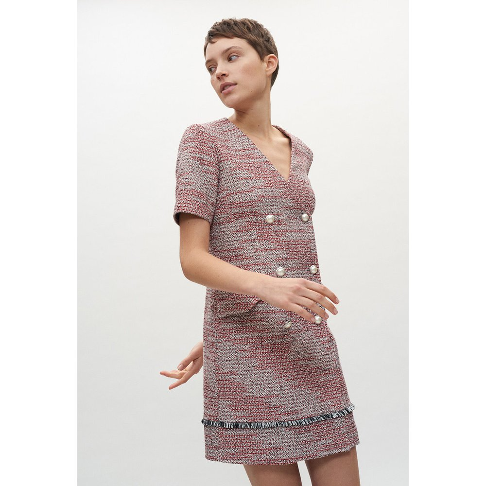 Robe en tweed rouge - Claudie Pierlot - Modalova
