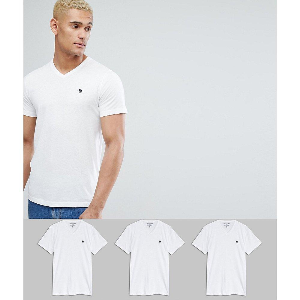 Lot de 3 t-shirts moulants col V à coupe ajustée - - Économie de 25 % - Abercrombie & Fitch - Modalova