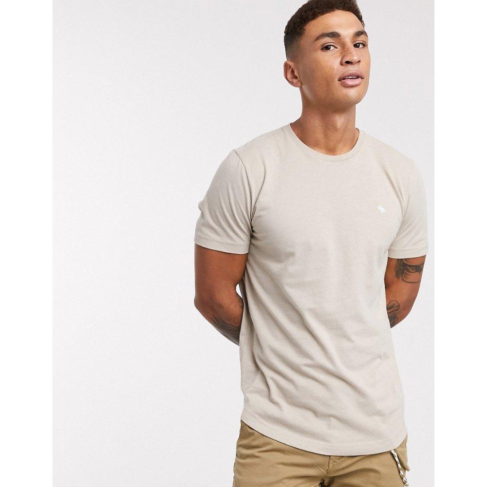 T-shirt à ourlet arrondi et logo - Grège - Abercrombie & Fitch - Modalova
