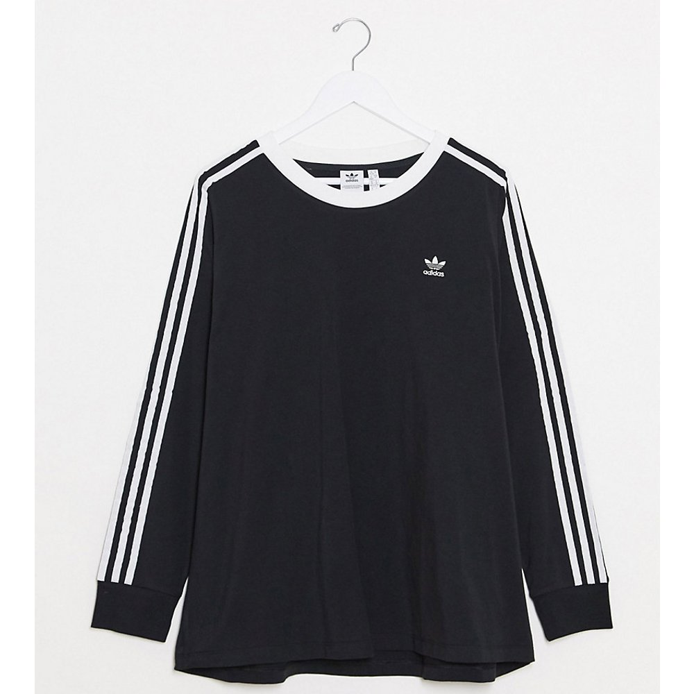 Plus - adicolor - T-shirt manches longues à trois bandes - Noir - adidas Originals - Modalova