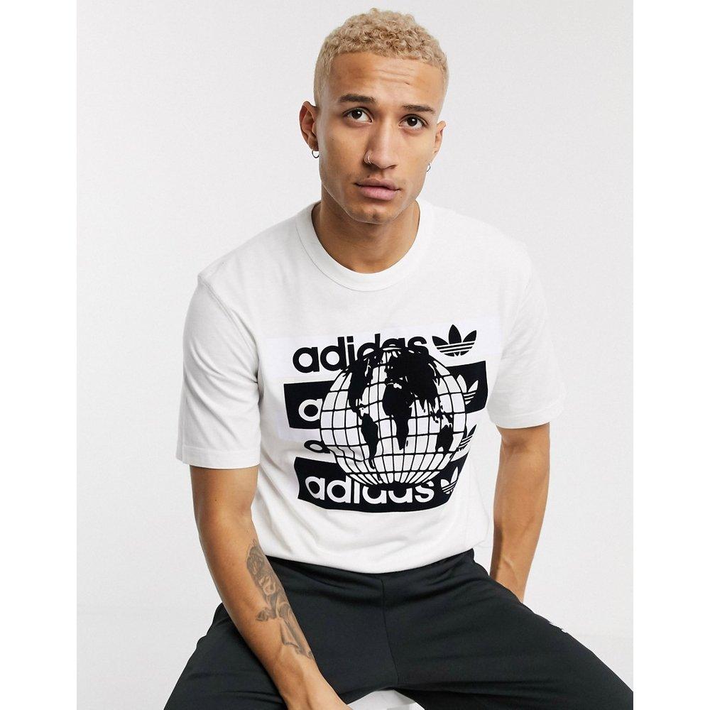 T-shirt à imprimé globe floqué - adidas Originals - Modalova
