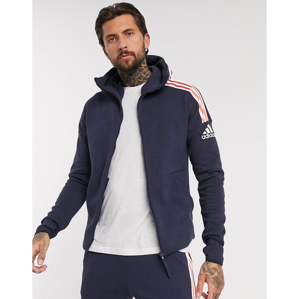Adidas - ZNE - Hoodie zippé à 3 bandes - Bleu marine - adidas performance - Modalova