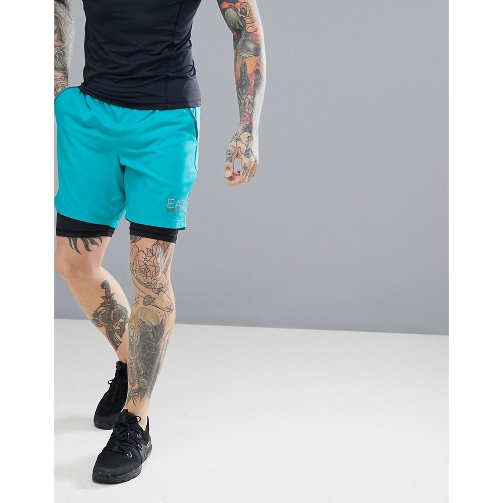 Armani - EA7 - Training Performance Ventus 7 - Short de compression à superposition - Turquoise - EA7 Training Performance - Modalova