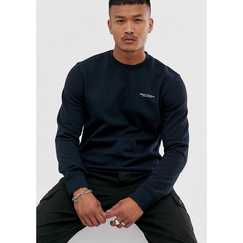 Sweat-shirt ras de cou à logo - Bleu marine - Armani Exchange - Modalova