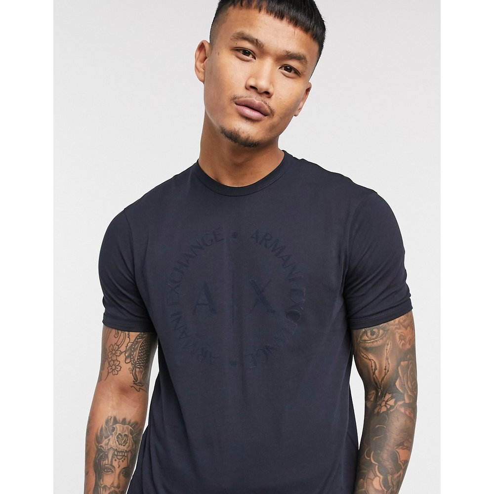 T-shirt à logo cercle floqué - Bleu marine - Armani Exchange - Modalova