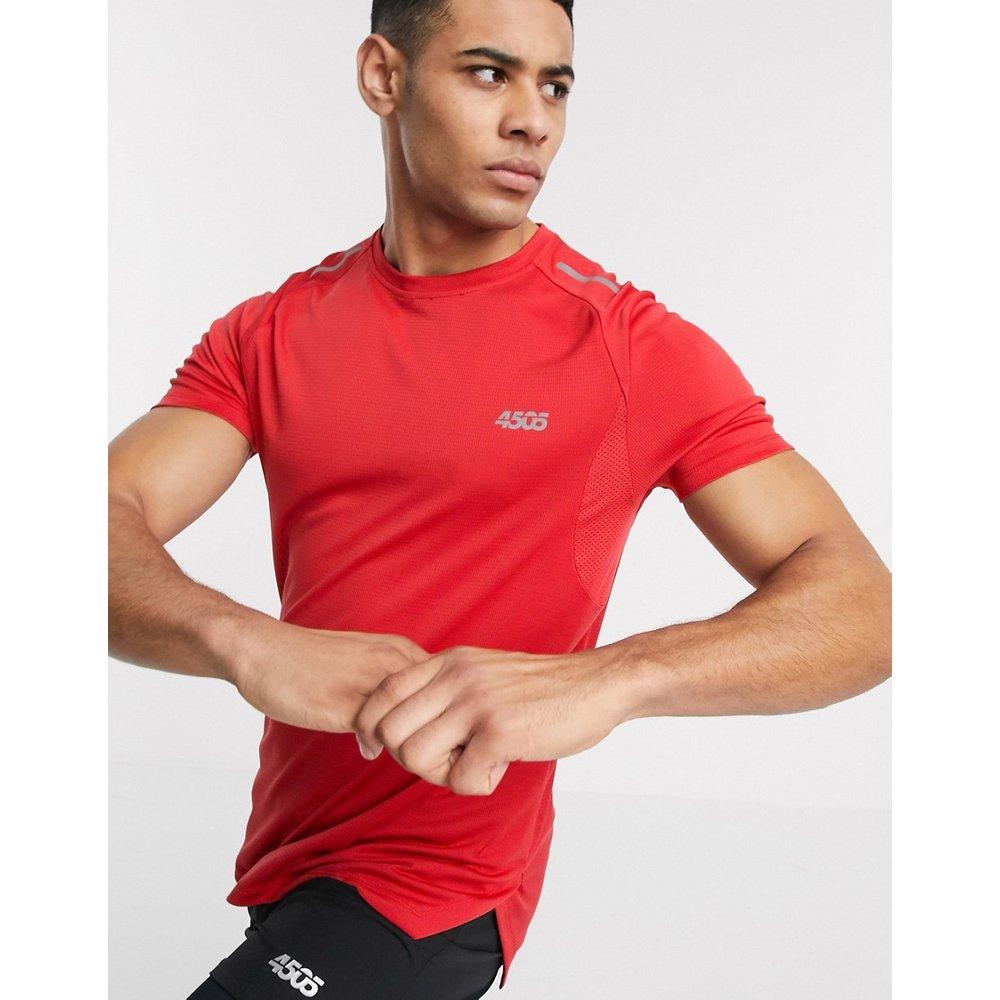 T-shirt de course à logo avec ourlet asymétrique et empiècements en tulle - ASOS 4505 - Modalova