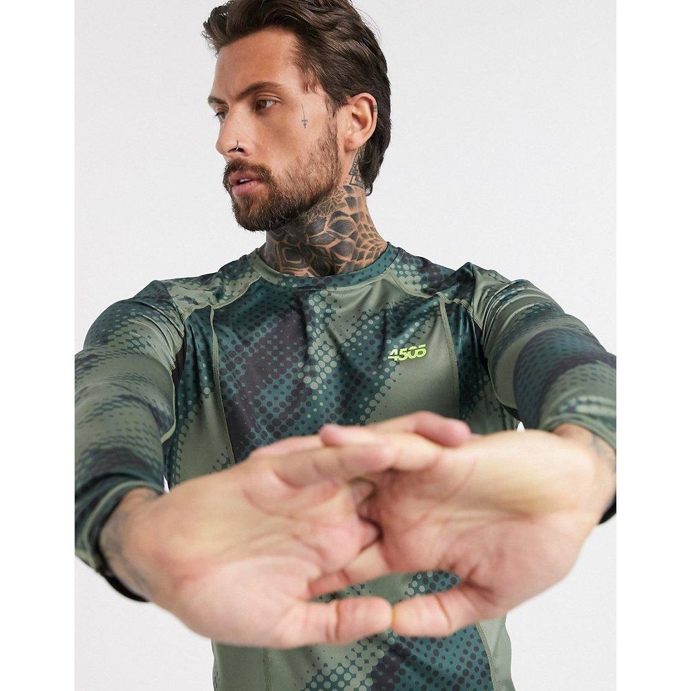 T-shirt manches longues d'entraînement avec empiècements imprimé et tulle - ASOS 4505 - Modalova