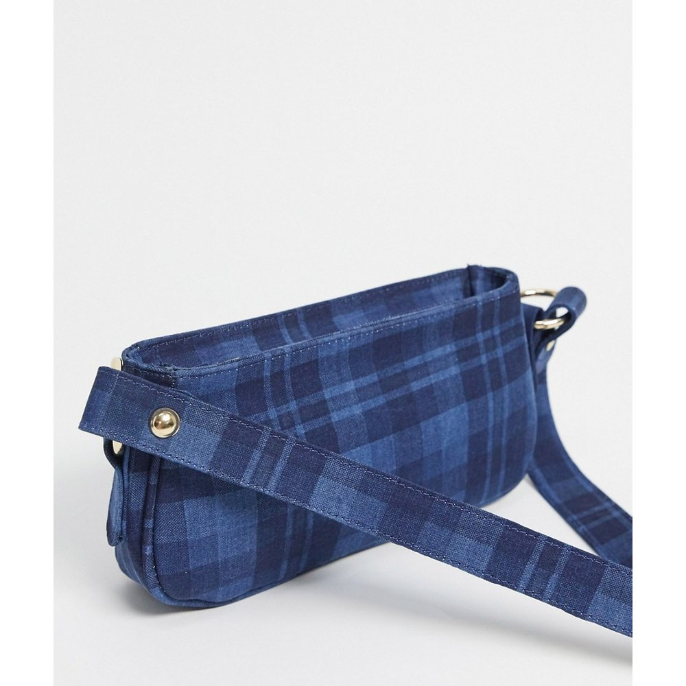 S - Sac porté épaule à carreaux en jean - ASOS DESIGN - Modalova