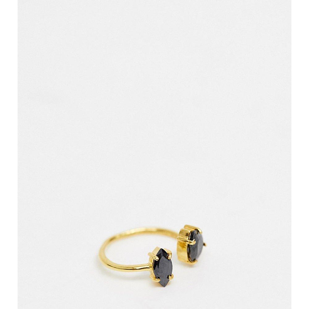 Bague en argent massif plaqué or avec détail pierre - ASOS DESIGN - Modalova