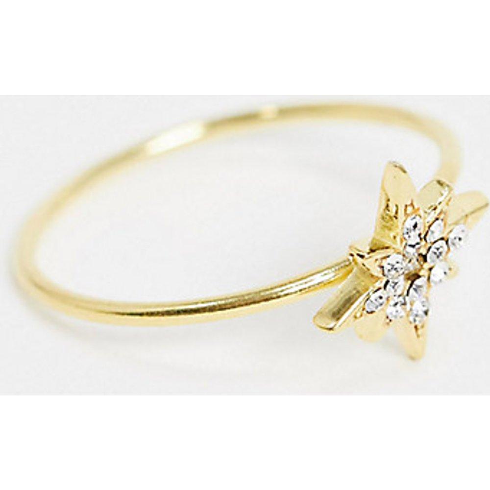 Bague en argent massif plaqué or avec étoiles en cristal - ASOS DESIGN - Modalova