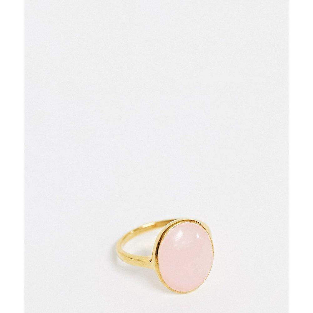 Bague en argent massif plaqué or avec pierre rose fantaisie - ASOS DESIGN - Modalova