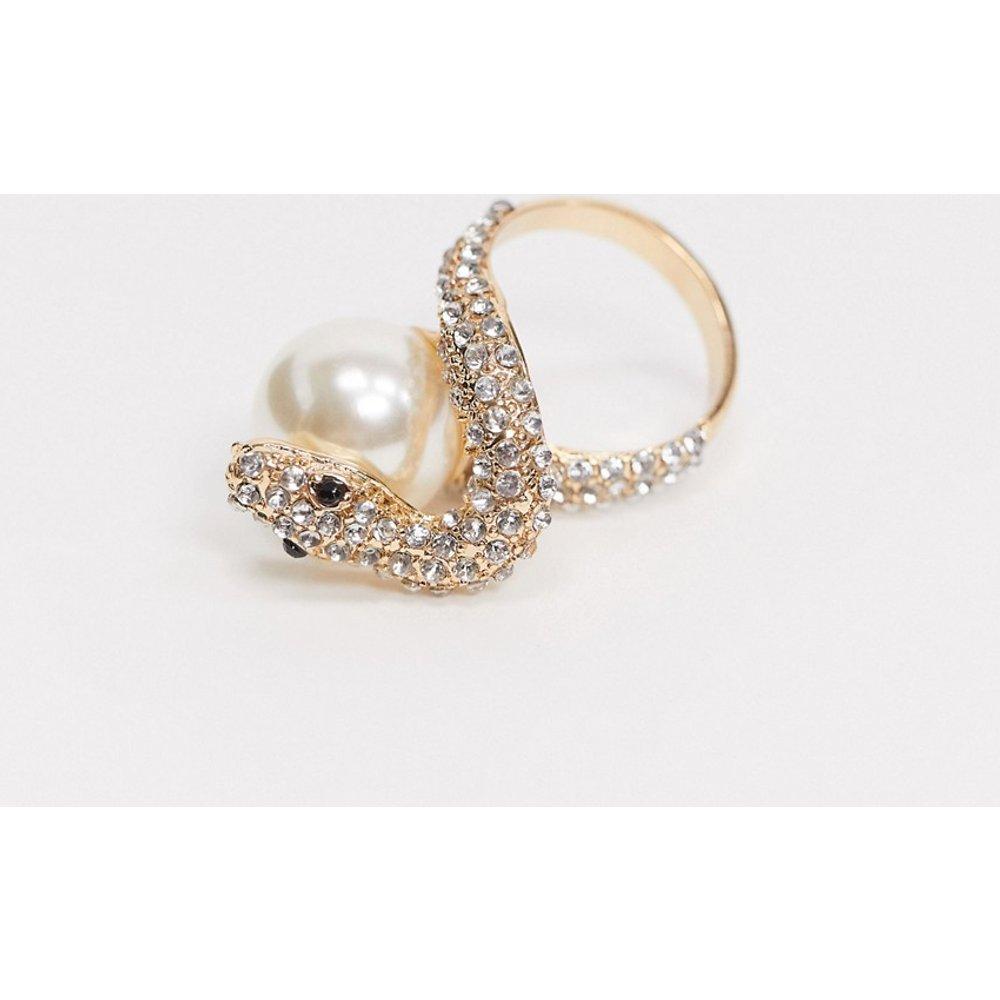 Bague serpent à cristaux et perle - ASOS DESIGN - Modalova