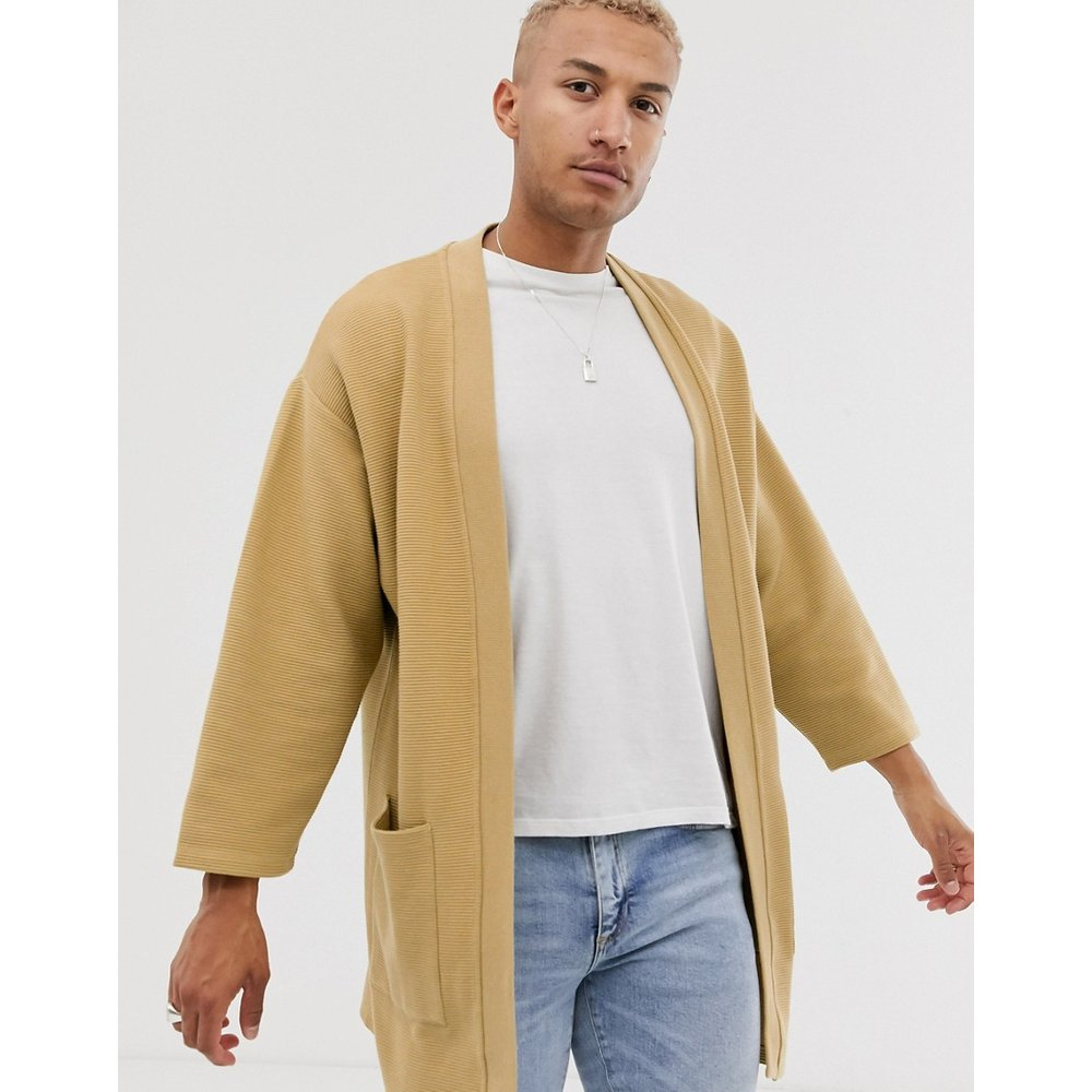 Cardigan en jersey côtelé façon kimono - ASOS DESIGN - Modalova
