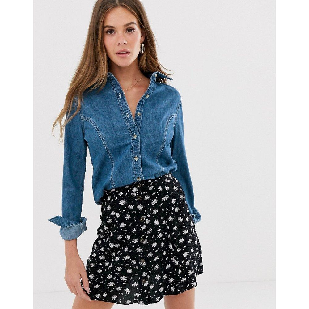Chemise en jean ajustée style western - délavé moyen - ASOS DESIGN - Modalova