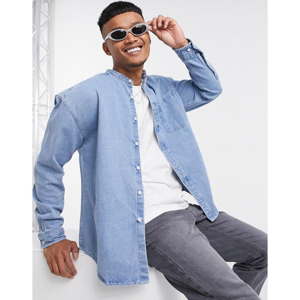 Chemise en jean oversize style 90's avec col grand-père - Délavage blanchi - ASOS DESIGN - Modalova