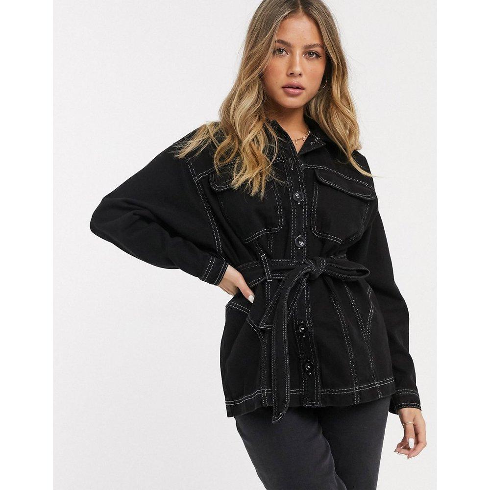 Chemise épaisse oversize surpiquée en jean avec ceinture - ASOS DESIGN - Modalova