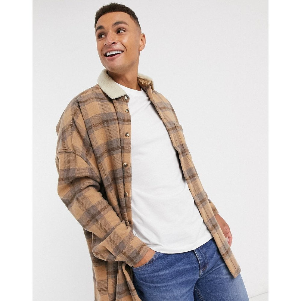 Chemise oversize à carreaux en laine mélangée avec épaules tombantes - Lilas et - ASOS DESIGN - Modalova