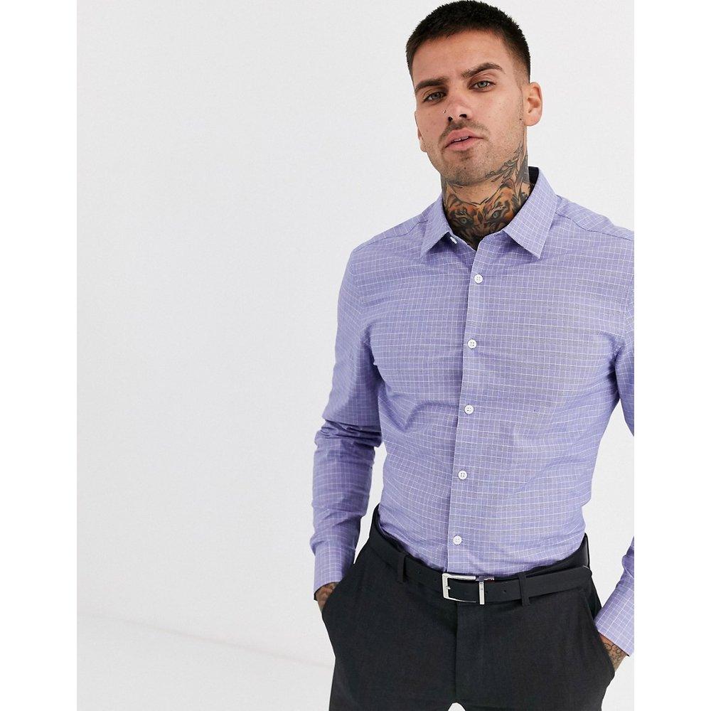 Chemise slim habillée à carreaux - Bleu - ASOS DESIGN - Modalova