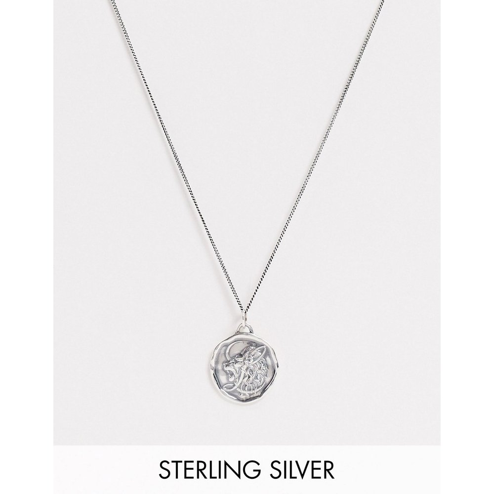 Collier à pendentif lion - Argent massif - ASOS DESIGN - Modalova