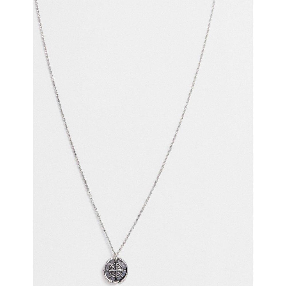 Collier avec pendentif boussole - Argent poli - ASOS DESIGN - Modalova