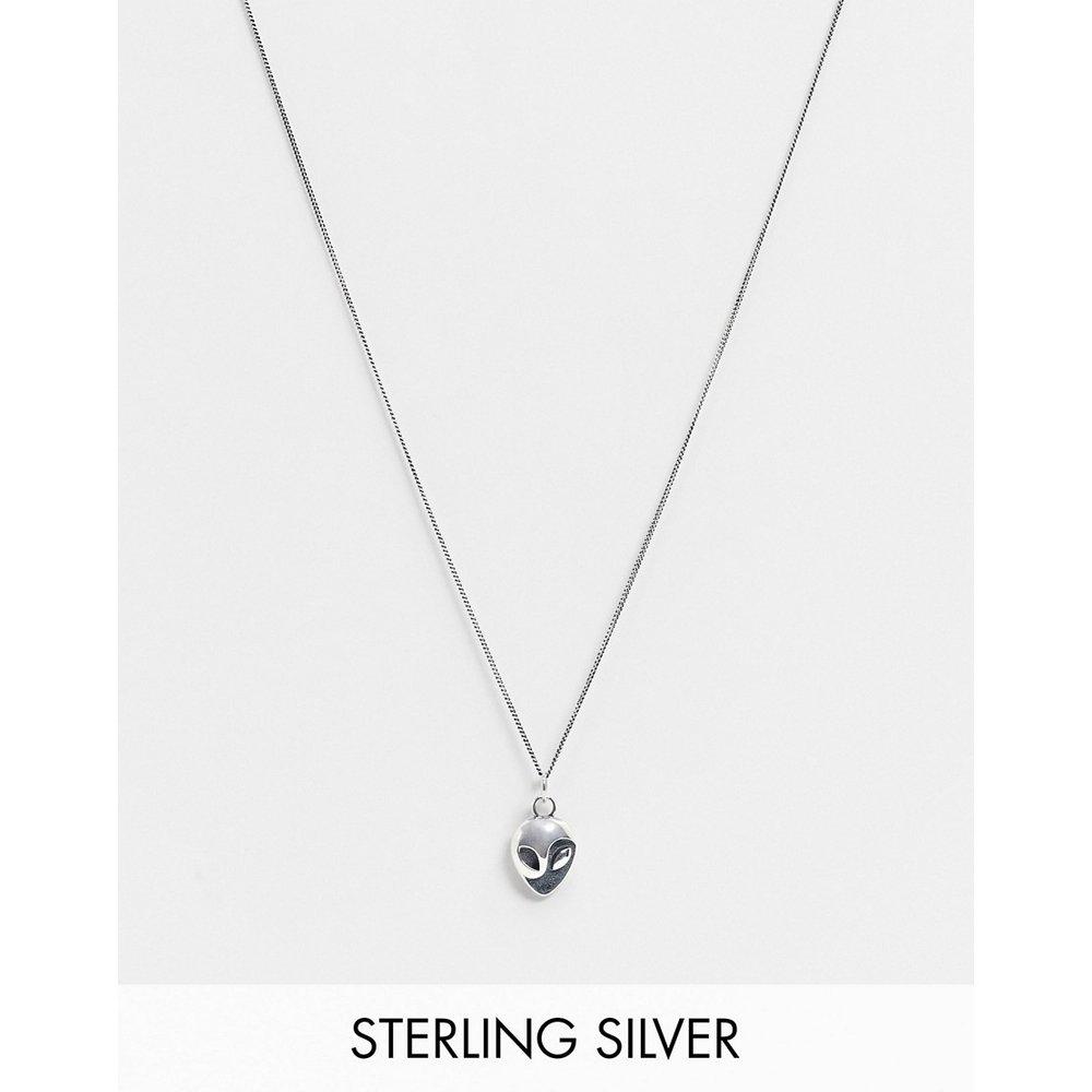 Collier en argent massif avec pendentif extra-terrestre - ASOS DESIGN - Modalova