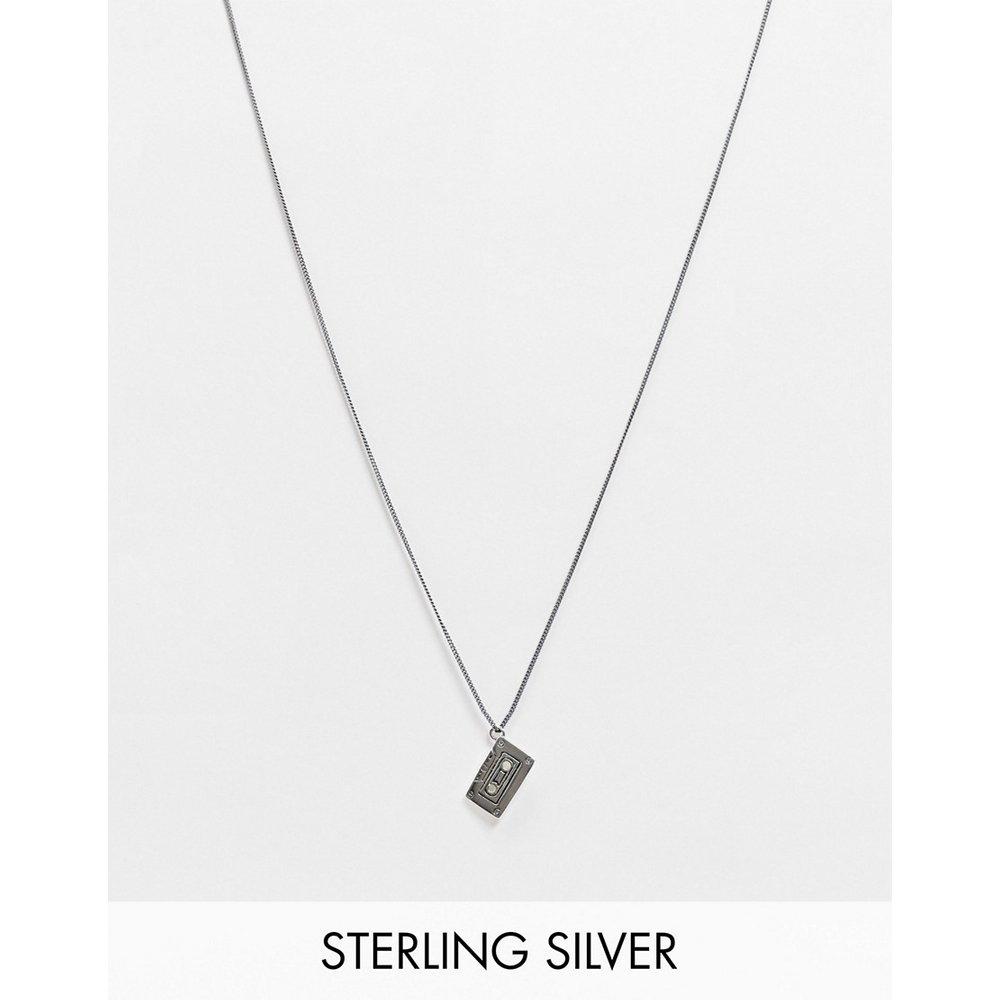Collier fin 1 mm en argent massif avec pendentif cassette - Argent poli - ASOS DESIGN - Modalova