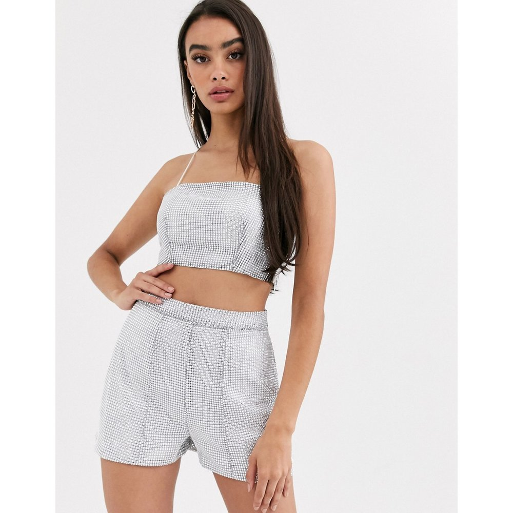 Crop top style caraco orné de strass (ensemble) - ASOS DESIGN - Modalova