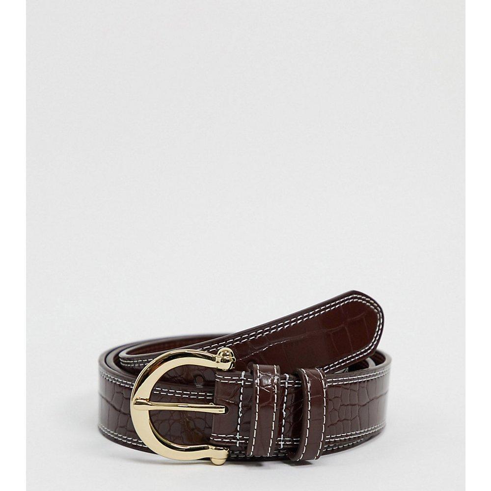 ASOS DESIGN Curve - Ceinture taille ou hanches pour jean à surpiqûres contrastantes avec boucle style vintage - Croco brillant - ASOS Curve - Modalova