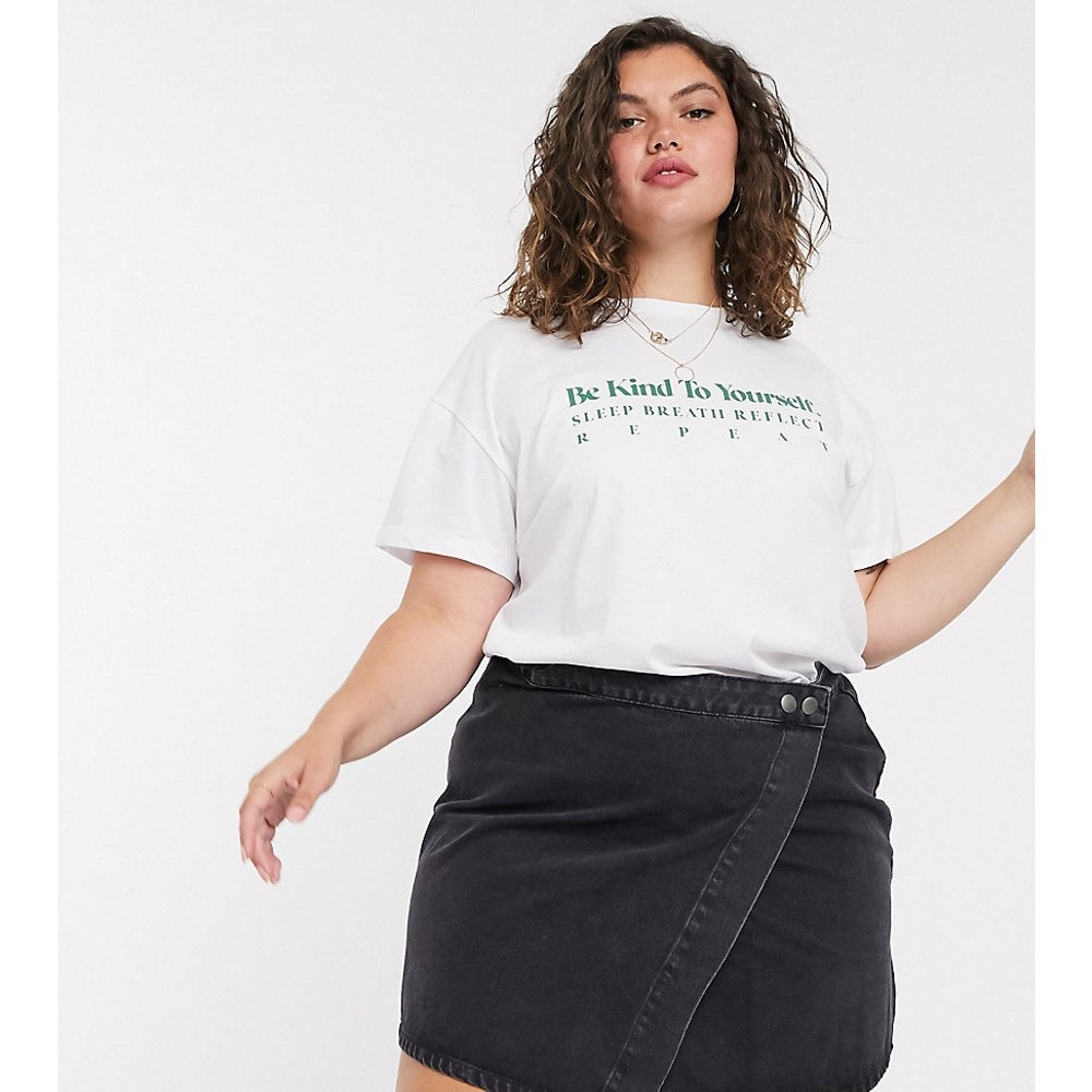 ASOS DESIGN Curve - Jupe portefeuille en jean - délavé - ASOS Curve - Modalova