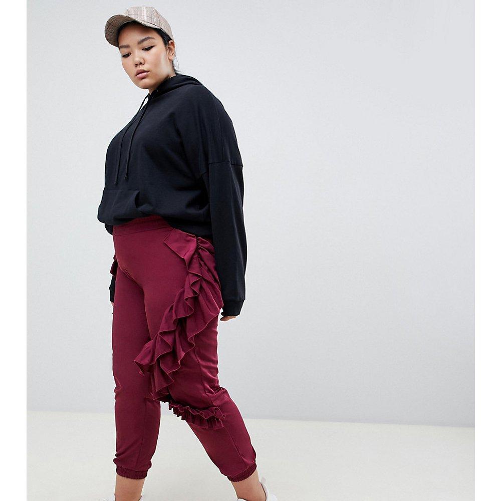 ASOS DESIGN Curve - Pantalon de jogging à volants - Bordeaux - ASOS Curve - Modalova