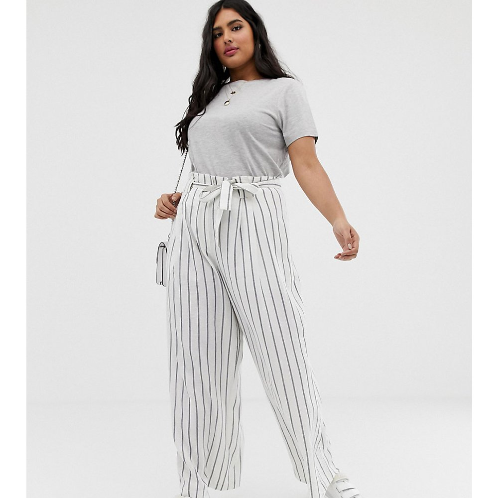 ASOS DESIGN Curve - Pantalon large rayé en lin avec taille froncée et ceinture - ASOS Curve - Modalova