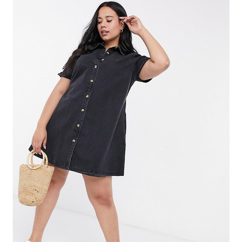 ASOS DESIGN Curve - Robe chemise façon babydoll en jean doux - délavé - ASOS Curve - Modalova