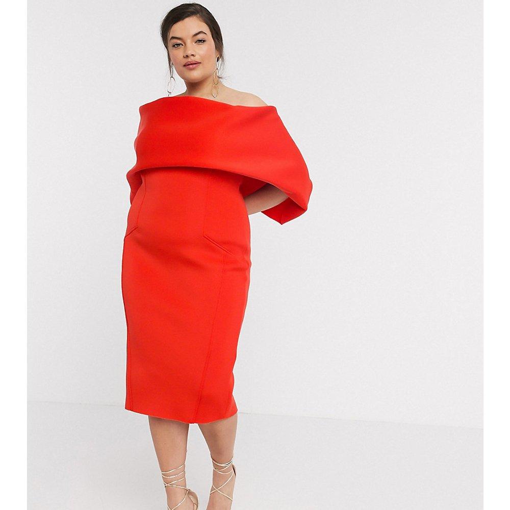 ASOS DESIGN Curve - Robe fourreau style bardot mi-longue à plis sur l'avant - ASOS Curve - Modalova